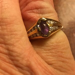 14k Yellow Gold Diamond Ring with Amethyst